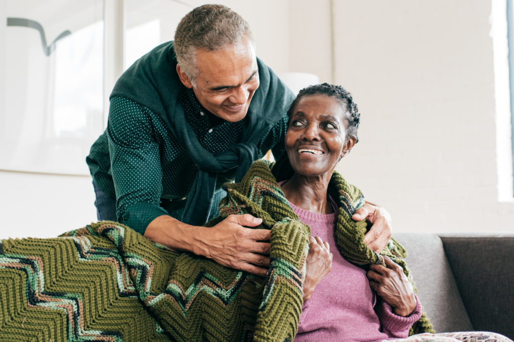 elderly woman with younger man